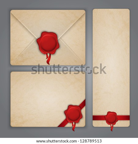 Aged paper envelope and postcards with ribbons wax seals. Illustration contains gradient mesh.
