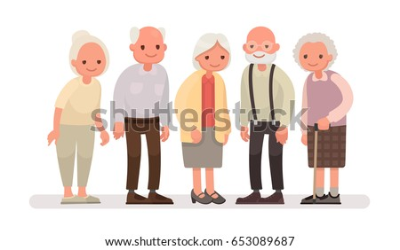 Shutterstock Aged people. Grandparents on a white background. Vector illustration in a flat style