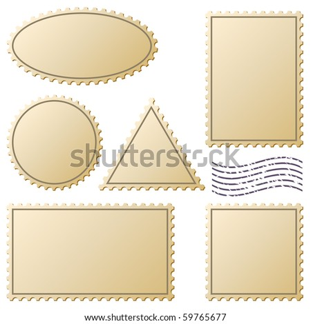 Aged postage stamps vector set isolated on white. - stock vector