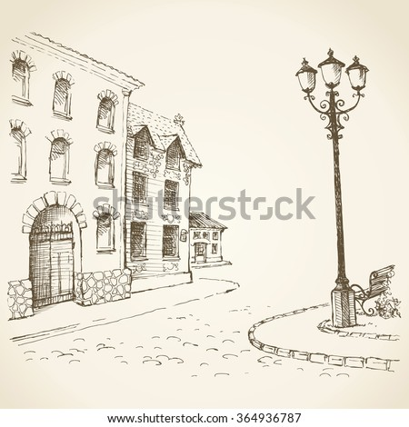 Aged romantic downtown square place with medieval edifice near stone road with space for text on sky backdrop. Freehand outline ink hand drawn picture sketchy in art scribble style pen on paper