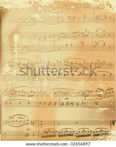aged sheet music-vector illustration #32656897