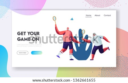 Aged Sportsmen Couple Spend Time Together in Park Playing Badminton Outdoors. Senior People Healthy Lifestyle and Sport Life. Website Landing Page, Web Page. Cartoon Flat Vector Illustration, Banner