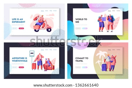 Aged Tourist Characters in Tropical Country Set. Senior Traveling People Having Fun in Journey, Touristic Offer for Pensioners Website Landing Page, Web Page. Cartoon Flat Vector Illustration, Banner