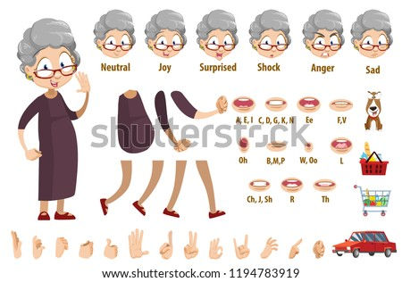 Aged woman in glasses and brown dress character. Creation pack with various facial emotions, hand gestures, lips and items. Funny granny personage constructor for custom animation vector illustration