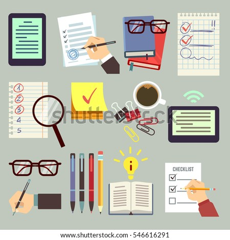 Agenda, appointment, pointing business list, organizer book, diary, calendar with event date, hands pen and pencil vector set.