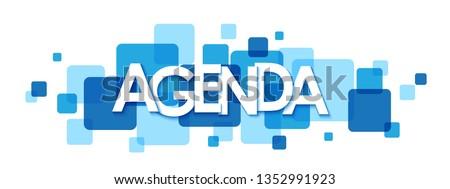 AGENDA blue typography banner Stock photo ©