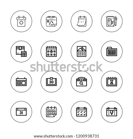 Agenda icon set. collection of 16 outline agenda icons with calendar, order icons.