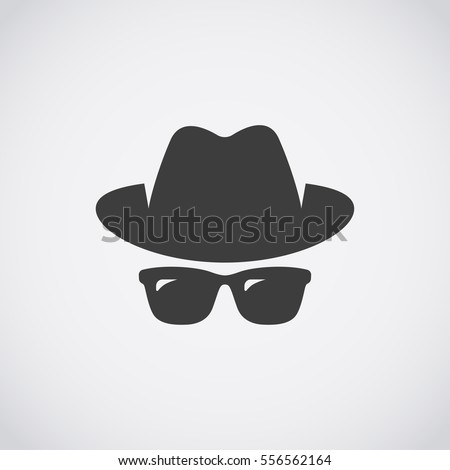 agent icon spy sunglasses hat