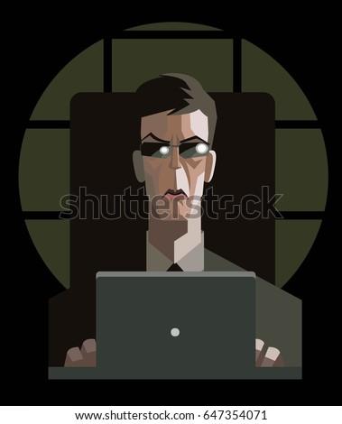 agent man using a computer