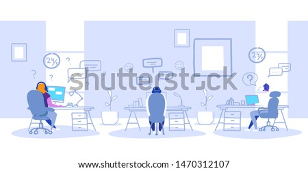 agents sitting at workplace desks call center support service communication concept operators team in headphones talking with customers modern office interior sketch doodle horizontal full length
