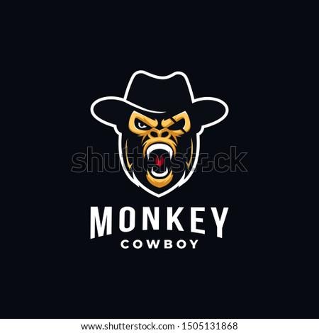 aggresive monkey cowboy mascot