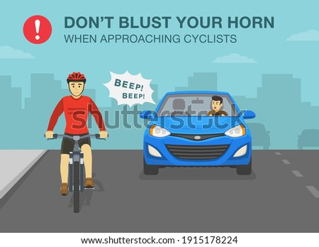 Aggressive and angry car driver is honking horn for no reason. Front view of a sedan car and cyclist on a bicycle. Don't blust your horn when approaching cyclists. Flat vector illustration template. Foto d'archivio ©