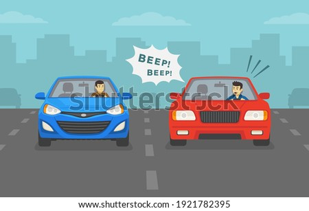 Aggressive and angry male car driver is honking horn for no reason. Front view of a city road or highway. Flat vector illustration template.