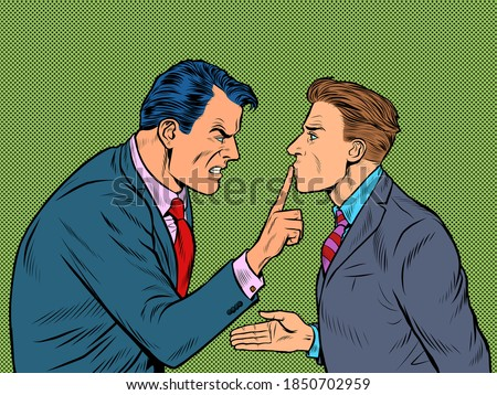 Aggressive argument between two men. One is good and the other is evil. Pop art retro illustration kitsch vintage 50s 60s style Stock photo ©