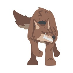 Aggressive Brown Dog Baring its Teeth Standing in Fighting Pose Vector Illustration