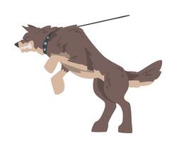 Aggressive Brown Dog on Leash Barking and Baring its Teeth Vector Illustration