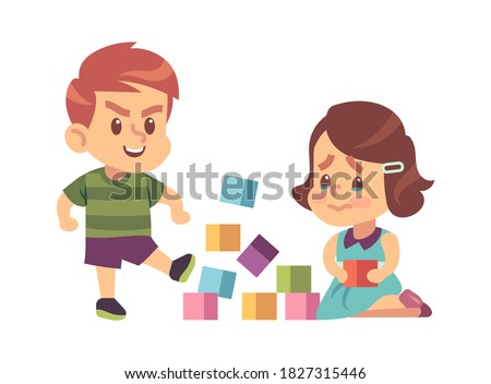 Aggressive bully kicking toys. Cartoon boy breaks toy cubes, unhappy crying girl children abuse behavior, bad manners kids conflict on playground. Flat vector illustration isolated on white background Сток-фото ©