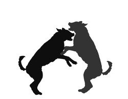 Aggressive dogs fighting vector silhouette isolated on white background. Rabies dog battle.