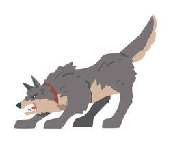 Aggressive Gray Dog Barking and Baring its Teeth Vector Illustration