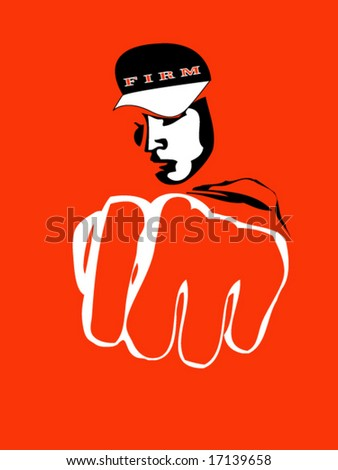 aggressive hooligan with fist vector illustration