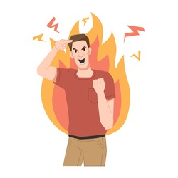 Aggressive man screams, shows gestures of rage, burns with anger, fire behind his back. Vector furious screaming guy, negative emotions of crazy quarreling or stressed man person, violence conflict