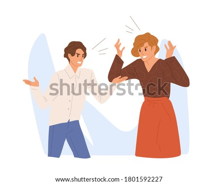 Aggressive people scream loud. Angry colleague or family couple quarrel. Irritated wife and husband conflict, scene of argue, relationship problems. Flat vector cartoon illustration.