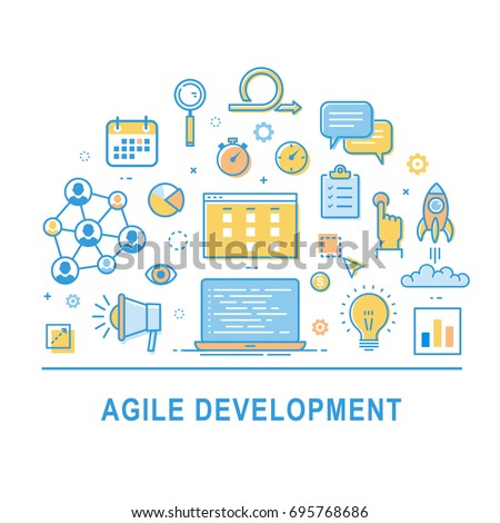 Agile development vector. Concept illustration with icons with thin line design. Icon set of production management. Symbol collection for infographic.
