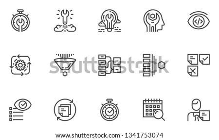 Agile Development Vector Line Icons Set. Production Management, Project Quality Control, Scrum Master. Editable Stroke. 48x48 Pixel Perfect.