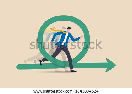 Agile methodology for business or software development, flexibility work in modern company management concept, smart businessman running fast with agility effect on circular agile life cycle workflow. Foto stock ©