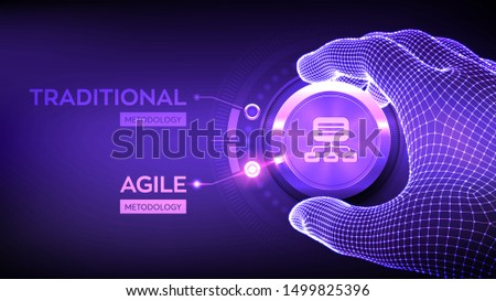 Agile software development methodology concept. Wireframe hand turning a knob and selecting Agile mode. Digital technology, big data concept. Flexible developing process. Vector illustration. Foto d'archivio ©