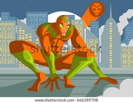 agile superhero crawling in
