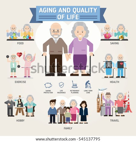 Aging and quality of life. Senior man and woman activities. Senior citizen. Info-graphic inspire to drive your business project. Vector illustration.