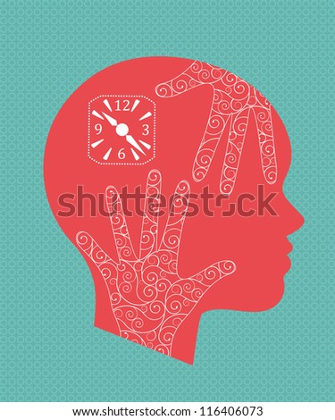 Aging concept - woman's profile with hands and clock.  (Hands are decorative with coils)