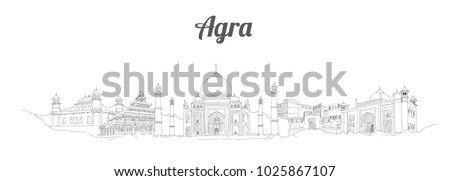 agra city panoramic vector hand