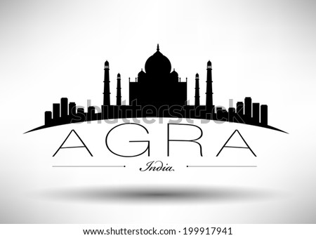 agra skyline with typography