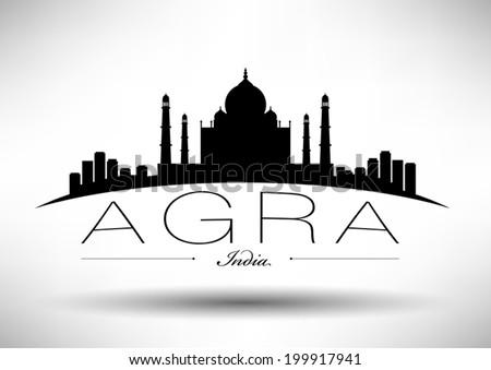 agra skyline with typography