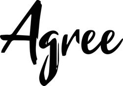 Agree Handwritten Font Calligraphy Black Color Text  on White Background