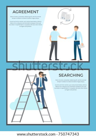 Agreement and searching set of posters. Vector illustration of businessmen striking deal along with adult male standing on ladder with binoculars