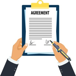 Agreement clipboard in hand, Man holding agreement