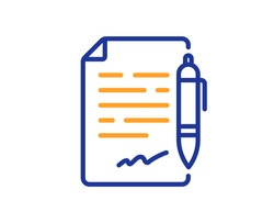 Agreement document line icon. Contract file signature sign. Office note symbol. Colorful thin line outline concept. Linear style agreement document icon. Editable stroke. Vector