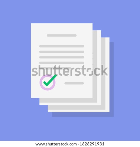 Agreement documents stack pile icon or paper contract list sign with signature and checkmark or tick vector flat cartoon, idea of legal documentation paperwork or success deal approved