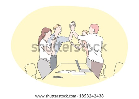 Agreement, teamwork, deal, business, successful negotiations concept. Young business people office workers partners standing and giving hands after successful negotiations or brainstorming in office
