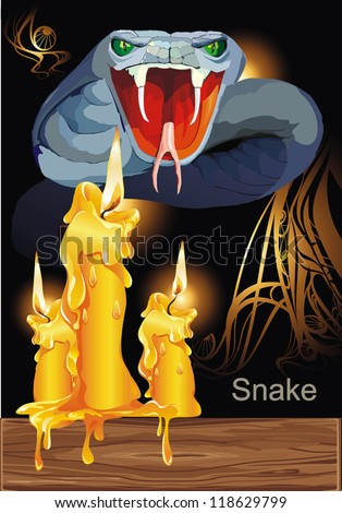 Agressive Poisonous snake. Halloween Set - vector illustration