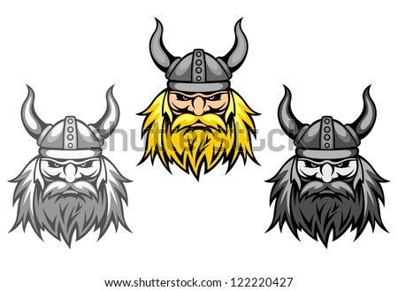 Agressive viking warriors for mascot or tattoo design, such a logo template. Jpeg version also available in gallery