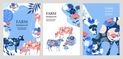Agricultural backgrounds. Silhouettes of cows and flowers. Geometrical composition. Background for covers, flyers, banners.  A set of banners.