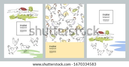 Agricultural brochure layout design. Cocks and village houses. Agricultural template. One line drawing. A set of banners.