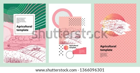 Agricultural brochure layout design. Geometrical composition. Background for covers, flyers, banners. Rural landscape