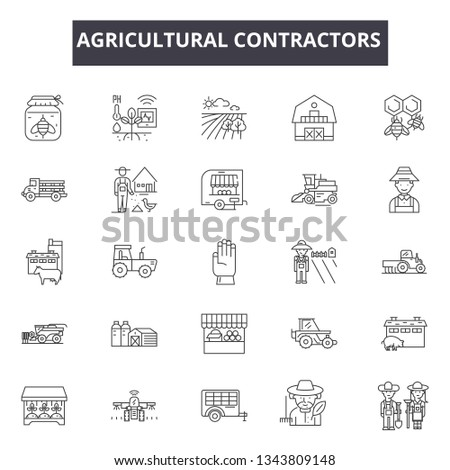 Agricultural contractors line icons. Editable stroke signs. Concept icons: contractor, farmer, industry, agricultural equipment etc. Agricultural contractors  outline illustrations
