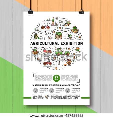 Agricultural Exhibition design poster or card template, mock-up flyer, banner. Vector agriculture and gardening infographics concept, Farming line art icons, Garden tiller and farm machines