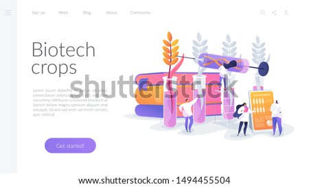 Agricultural genetics. Plants growing in test tube. Scientists breeding artificial crop. Genetically modified plants, GM crops, biotech crops concept. Website homepage header landing web page template